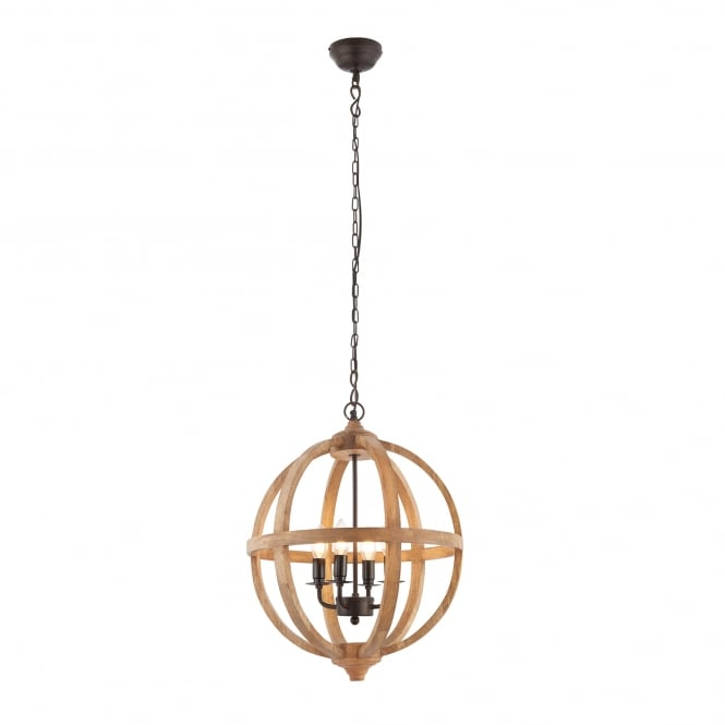 Endon Lighting Toba 4 Light Ceiling Pendant with Mango Wood and Dark Bronze Finish