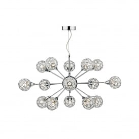 Toga 15 Light Ceiling Pendant In Polished Chrome And Crystal Finish