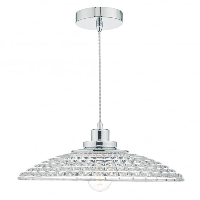 Dar Lighting Toscana Single Light Ceiling Pendant in Polished Chrome Finish with Glass Shade
