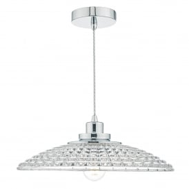 Toscana Single Light Ceiling Pendant in Polished Chrome Finish with Glass Shade