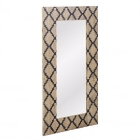 Tovey Rectangle Mirror With Diamond Wood Veneer Finish