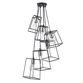 Tower 6 Light Cluster Ceiling Pendant in Black and Polished Chrome Finish