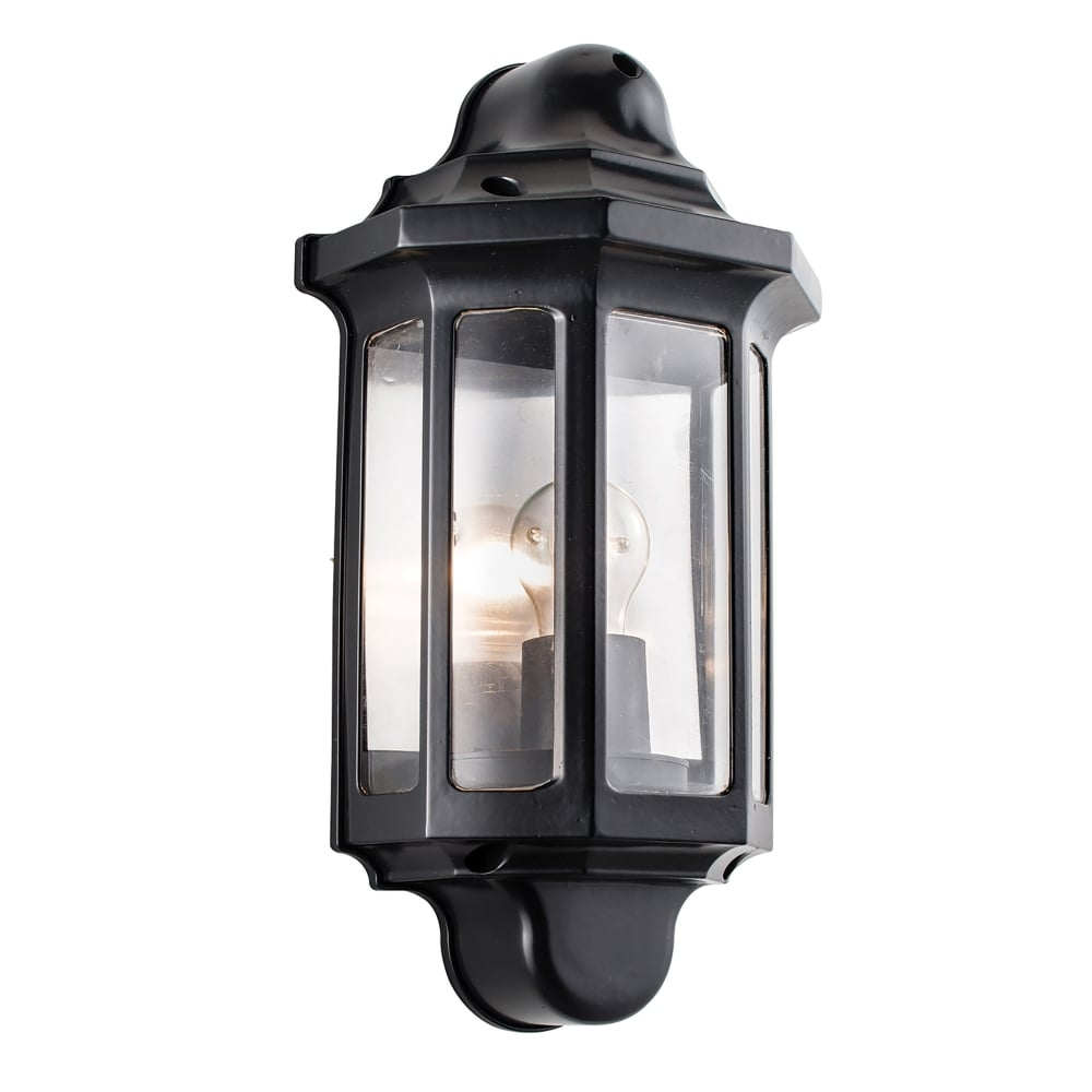 Endon Lighting Traditional Single Light Outdoor Half Wall Lantern In Satin Black Finish With ...