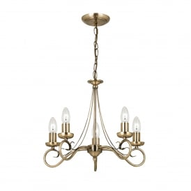 Trafford 5 Light Ceiling Fitting In Antique Brass Finish
