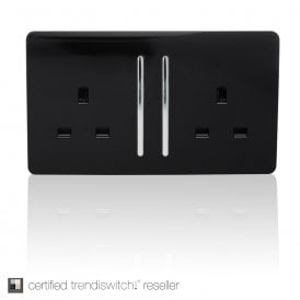 2 Gang 13 Amp Long Switched Socket in Black