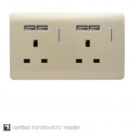 2 Gang 13 Amp Short Switched Socket in Gold with USB
