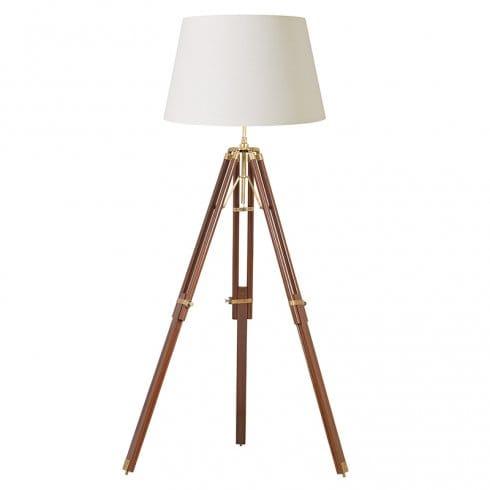 Endon lighting tripod single light floor lamp in dark wood for Brass tripod floor lamp uk