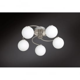 Troja/Serie 973 LED 5 Light Ceiling Fitting in Matt Nickel Finish with Glass Shades