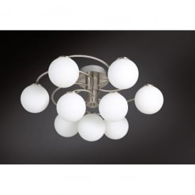 Troja/Serie 973 LED 9 Light Ceiling Fitting in Matt Nickel Finish with Glass Shades