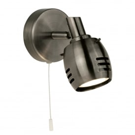 Trojan Single Light Switched Wall Spotlight In Antique Silver Finish