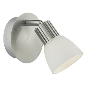 Tucker Single LED Wall Fitting in Satin Chrome Finish with Opal Glass Shade