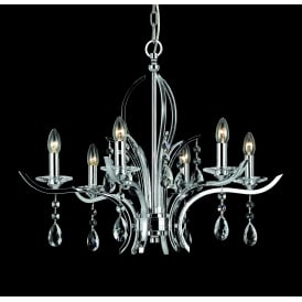 Turin 6 Light Ceiling Pendant In Polished Chrome And Crystal Finish