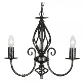Tuscany 3 Light Ceiling Multi Arm Chandelier in Black Silver Finish