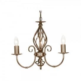 Tuscany 3 Light Ceiling Multi Arm Chandelier in Gun Metal Finish