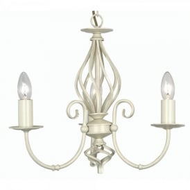 Tuscany 3 Light Ceiling Multi Arm Chandelier in Ivory Finish