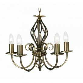 Tuscany 5 Light Ceiling Multi Arm Chandelier in Antique Brass Finish