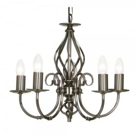 Tuscany 5 Light Ceiling Multi Arm Chandelier in Antique Silver Finish