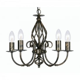 Tuscany 5 Light Ceiling Multi Arm Chandelier in Black Gold Finish