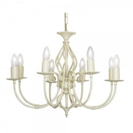 Tuscany 8 Light Ceiling Multi Arm Chandelier in Ivory Finish