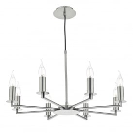 Tyler 8 Light Multi Arm Ceiling Fitting In Satin Chrome Finish