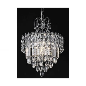 Tzarina 9 Light LED Ceiling Pendant In Polished Chrome Finish And Crystal Drops