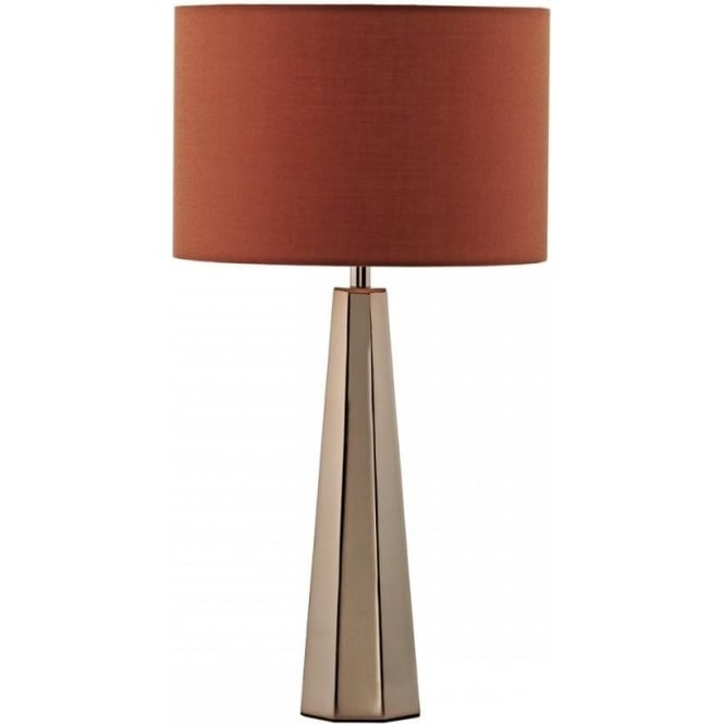 Dar Lighting Ultra Single Light Table Lamp In Bright Copper Finish With Orange Linen Shade