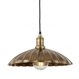 Umbrella Single Light Ceiling Pendant In Antique Brass Finish