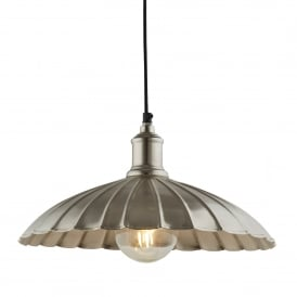 Umbrella Single Light Ceiling Pendant In Satin Nickel Finish