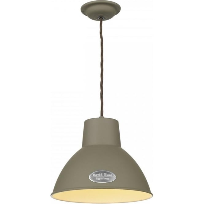 David Hunt Lighting Utility Single Light Small Ceiling Pendant in Marston & Langinger Mole Brown Finish