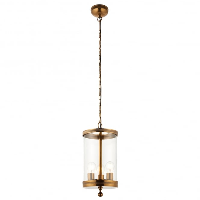 Endon Lighting Vale 3 Light Ceiling Pendant in Antique Brass Lacquer Finish with Glass