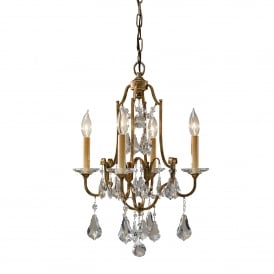 Valentina 4 Light Duo Mount Convertible Ceiling Pendant in Oxidized Bronze Finish with Crystal Glass