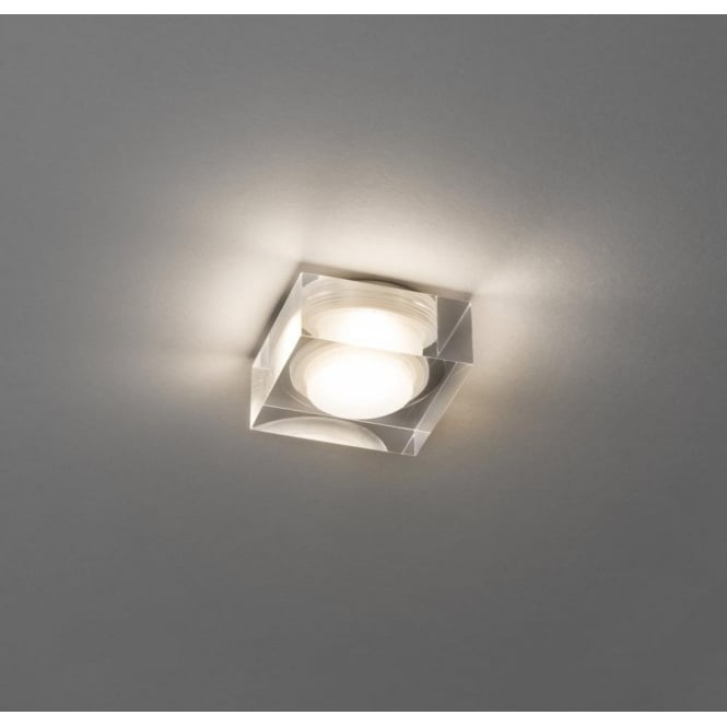 Astro Lighting Vancouver 45 Single Light Recessed LED Square Bathroom Downlight Ceiling Fitting In Clear Glass Finish