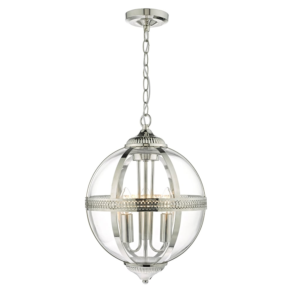 Dar Lighting Vanessa 3 Light Ceiling Pendant In Polished