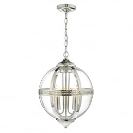 Vanessa 3 Light Ceiling Pendant in Polished Nickel Finish with Glass