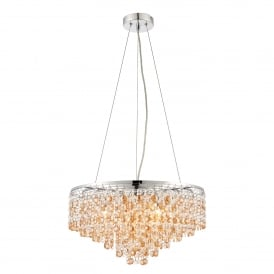 Vanessa 5 Light Ceiling Pendant in Stainless Steel with Clear and Amber Tinted Crystal Glass