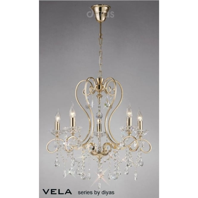 Diyas Vela Medium 5 Light French Gold Chandelier with Asfour Crystal