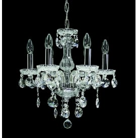 Venice 6 Light Ceiling Pendant in Chrome Finish Trimmed With Clear Crystal Decoration