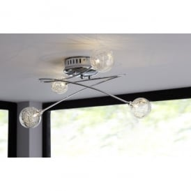 Verre/Serie 240 Low Voltage Halogen 4 Light Ceiling Fitting in Polished Chrome Finish and Clear Glass
