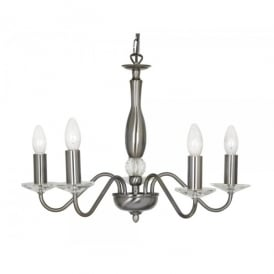 Vesta 5 Light Ceiling Multi Arm Chandelier with Crystal in Antique Silver Finish