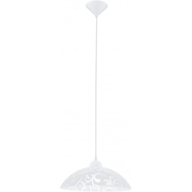 Eglo Lighting Vetro Single Light Ceiling Pendant With White Satinated Glass Shade