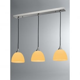 Vetross 3 Light Ceiling Bar with White Shades and Orange Interiors