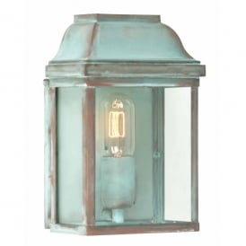 Victoria Single Light Solid Brass Outdoor Wall Lantern in Verdigris