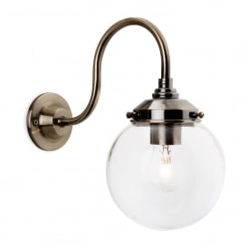 Victoria Single Light Wall Fitting In Antique Brass Finish With Clear Glass Globe Shade