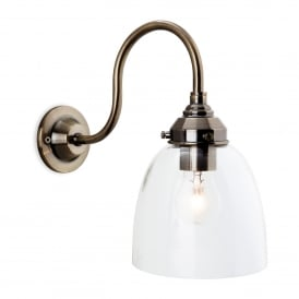 Victoria Single Light Wall Fitting In Antique Brass Finish With Clear Shade