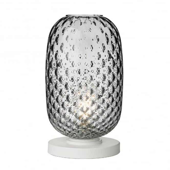 David Hunt Lighting Vidro Single Light Large Table Lamp in White Finish Complete with Smoked Glass Shade