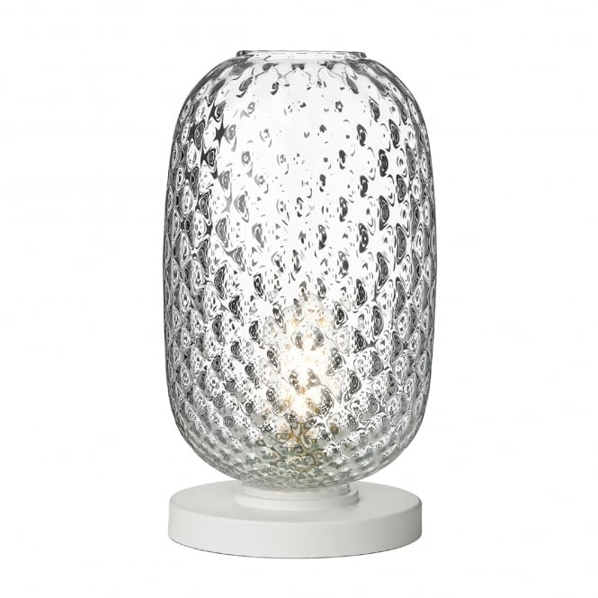 David Hunt Lighting Vidro Single Light Large Table Lamp in White Finish with Clear Glass Shade