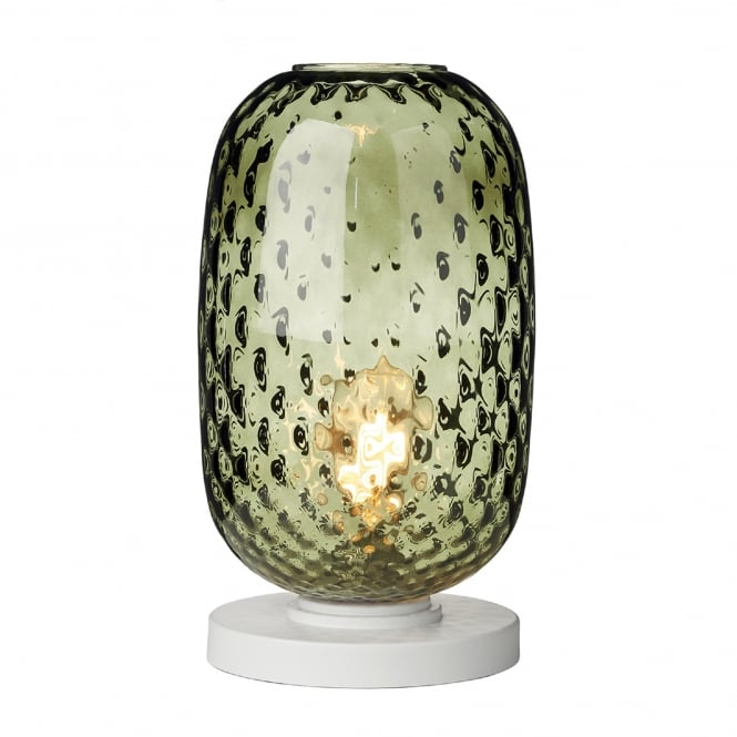 David Hunt Lighting Vidro Single Light Large Table Lamp in White Finish with Green Glass Shade