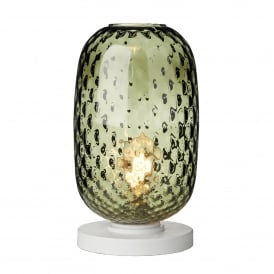 Vidro Single Light Large Table Lamp in White Finish with Green Glass Shade