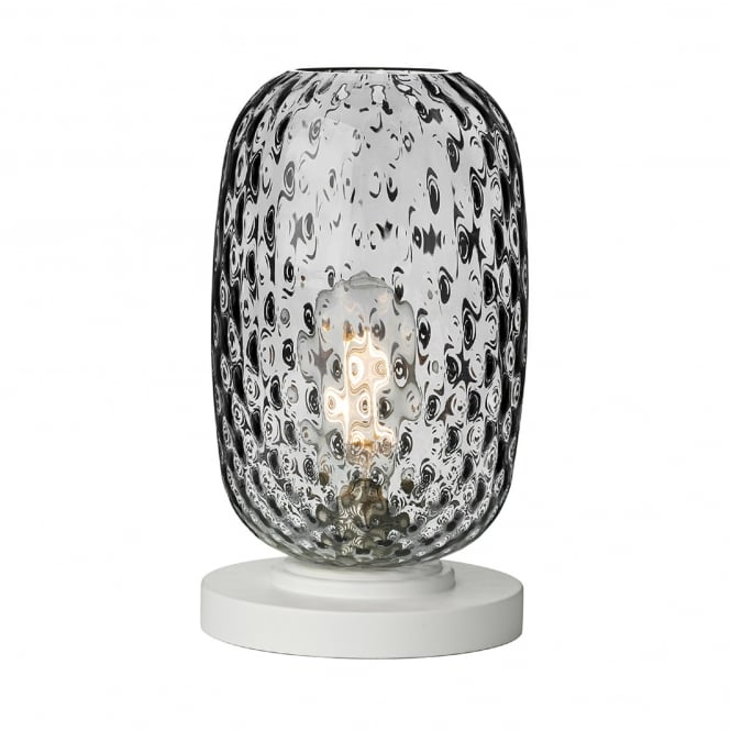 David Hunt Lighting Vidro Single Light Small Table Lamp in White Finish Complete with Smoked Glass Shade