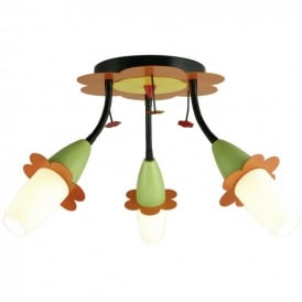 Viki 2 LED 3 Light Ceiling Fitting With Orange Green And Yellow Flower Decoration